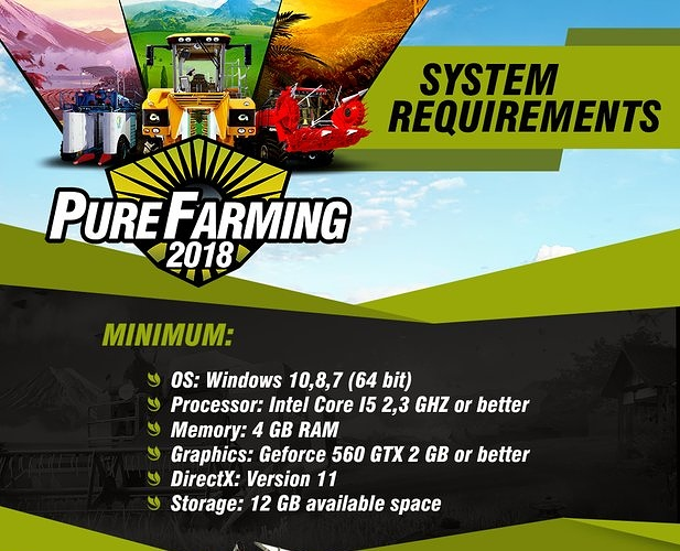 system requirements for Pure Farming 2018